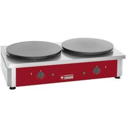 """Dubbele elektrische pannenkoekplaat hoog rendement, Ø 400 mm """"geëmailleerd"""", 860x500xh240"""
