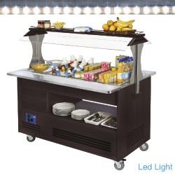 Buffet - Salad bar, gekoeld, 4x GN 1/1-150 (Wengé hout), 1440x660(960)xh1405