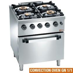 Gasfornuis 4 branders, elektrische convectie-oven GN 1/1, 700x700xh850/920