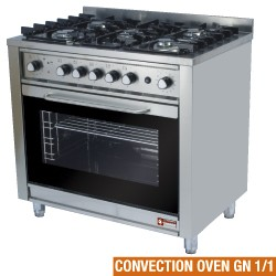 Gasfornuis 5 branders op convectie-oven GN 1/1 en elektrische grill, 900x600xh850