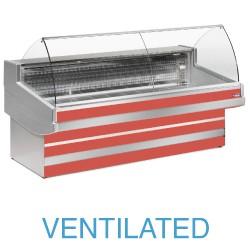 EB15/B3-VV Geventileerde gekoelde vitrinetoonbank met  gebond frontglas zonder reserve