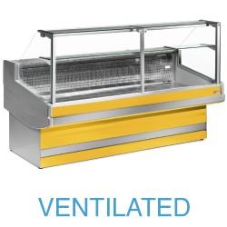 EB15/C1-VV Geventileerde gekoelde vitrinetoonbank met   recht frontglas 90° zonder reserve
