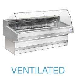 EB20/A3-VV Geventileerde gekoelde vitrinetoonbank met   gebond frontglas zonder reserve