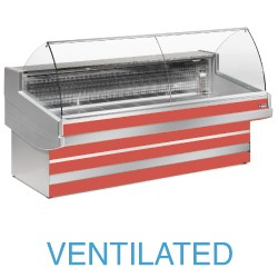 EB20/B3-VV Geventileerde gekoelde vitrinetoonbank   met gebond frontglas zonder reserve