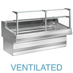 EB25/A1-VV Geventileerde gekoelde vitrinetoonbank met recht frontglas 90° zonder reserve