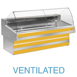 EB25/C3-VV Geventileerde gekoelde vitrinetoonbank met  gebond frontglas zonder reserve