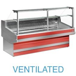 EB30/B1-VV Geventileerde gekoelde vitrinetoonbank met recht frontglas 90° zonder reserve