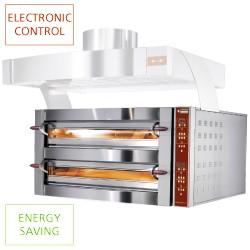 Elektrische oven, 2 kamers, 2x 4 pizza's Ø 350 mm, 1190x1100xh780