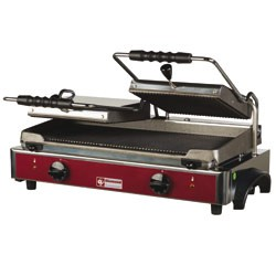 Elektrische panini grill DUBBEL, geribde platen, 620x435xh240