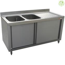 Spoeltafel 2 kuipen 400x500xh275, rechts druipvlak op kast met 2 schuifdeuren