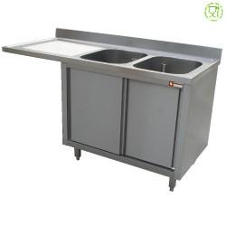 Spoeltafel met 2 kuipen 500x500x325 links druipvak op kast met 2 schuifdeuren en nis voor vaatwasser