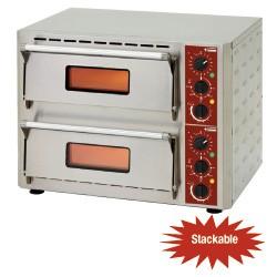 Elektrische pizza-oven, 2 kamers (3+3 kW) 430x430xh100 mm, 670x580xh500