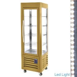 SNE/GN-C1 Positieve vitrine 4 glazen zijden 5 roosters,   geventileerd, 360 liters (Buitenkant Gold)