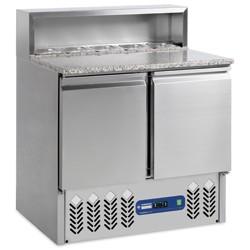 Voorbereidingstafel 2 deuren GN 1/1, 240 liter, koelstructuur 5x GN1/6, 900x700xh850/1100