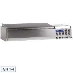 Gekoelde opzetvitrine 7x GN 1/4 - 150 mm, met R.V.S. deksel, 1600x340xh260/580