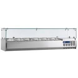Gekoelde opzetstructuur 7x GN 1/4 - 150 mm, met glasopbouw, 1600x340xh225/435