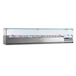 Gekoelde opzetstructuur 7x GN 1/3 - 150 mm, met glasopbouw, 1600x395xh225/435