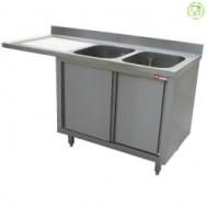 Spoeltafel met 2 kuipen 400x500x275 links druipvlak op kast met 2 schuifdeuren en nis voor vaatwasser