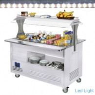 Buffet - Salad bar, gekoeld, 4x GN 1/1-150 (wit hout), 1440x660(960)xh1405