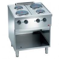 Elektrisch fornuis, 4 ronde kookplaten, op kast,  700x700xh850