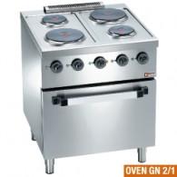 Elektrisch fornuis 4 platen, op elektrische oven GN 2/1, 700x700xh850