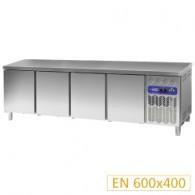 Gekoelde werktafel, geventileerd, 4 deuren EN 600x400 (760 Lit.), 2542x800xh880/900