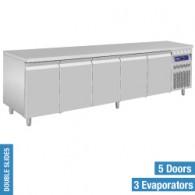 Geventileerde koeltafel, 5 deuren GN 1/1, 700 liter, 2625x700xh850/900