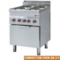 Fornuis 4 kookplaten en elektrische convectie-oven GN 2/3, 600x600xh850/970
