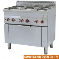 Fornuis 5 kookplaten en elektrische convectie-oven GN 1/1, 900x600xh850/970