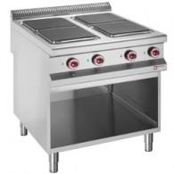 Elektrisch fornuis met 4 kookplaten op open kast, 800x900xh850/930