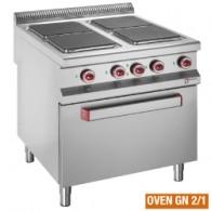 Elektrisch fornuis met 4 vierkante kookplaten op elektrische oven, 800x900xh850/920