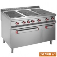 Elektrisch fornuis met 6 vierkante kookplaten op elektrische oven + open kast, 1200x900xh850/920