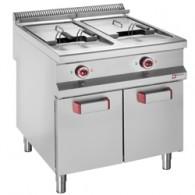 Elektrische friteuse met 2 kuipen 20 lit. op gesloten kast, 800x900xh850/920