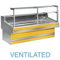 EB25/C1-VV Geventileerde gekoelde vitrinetoonbank met recht frontglas 90° zonder reserve