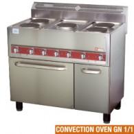 Elektrisch kookfornuis, 5 platen op convectie-oven 4x GN 1/1, 990x600xh860