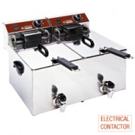Elektrische friteuse tafelmodel 2x 10 liter + kraan, 560x450xh375