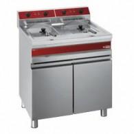 Elektrische frituurpan, 2 kuipen van 14 liter op kast, 750x655x845/985