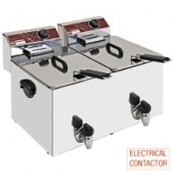 Elektrische friteuse, tafelmodel, 2x 8 liter + kraan, 560x450xh370