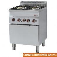 Gasfornuis 4 branders en elektrische convectie-oven GN 2/3, 600x600xh850/970