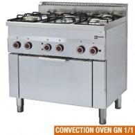 Gasfornuis 5 branders en elektrische convectie-oven GN 1/1, 900x600xh850/970