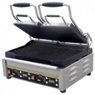 L555  Buffalo dubbele contact grill, Platen rechts gegroefd, links glad.