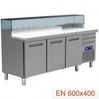 Pizzeria koeltafel, 3 deuren EN 600x400, 3 neutrale laden EN 600x400, gekoelde structuur 8x GN ¼, 2110x700xh880/900-1200
