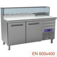 Pizzeria koeltafel, 2 deuren EN 600x400, 3 neutrale laden EN 600x400, gekoelde structuur 6x GN ¼, 1590x700xh880/900-1200