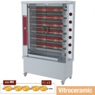 Vitroceramisch kippenspit, 6 spitten (30 kippen), 1200x500xh1880