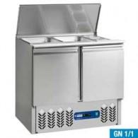 Gekoelde saladette 2x GN 1/1 + 3x GN 1/6 - 150 mm, reserve 2 deuren GN 1/1, 240 liter, 900x700xh870/1180
