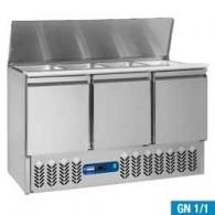 Gekoelde saladette 4x GN 1/1 - 150 mm, reserve 3 deuren GN 1/1, 380 liter, 1365x700xh870/1180