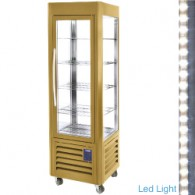 SNE/SB-C1 Negatieve vitrine 4 glazen zijden 5 niveaus,   geventileerd, 360 liters (Buitenkant Gold)