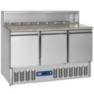 Voorbereidingstafel 3 deuren GN 1/1, 380 liter, koelstructuur 8x GN1/6, 1365x700xh850/1100