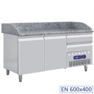 Frigotafel, 2 deuren 600x400 mm en 3 neutrale laden 600x400 mm,1600x720xh880/940-1090