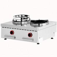 Wok gasvuur tafelmodel, 2 vuren (2x 15 kW), 800x600xh275/325